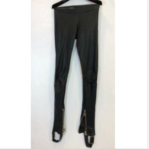 Balmain Paris Woman's Leather Pants Leggings 34